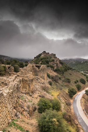 crusade: Castle in Israel during winter storm weather