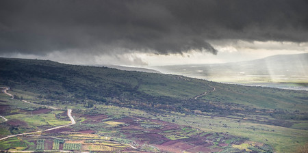 golan: Golan heights in Israel storm winter weather with rain Stock Photo