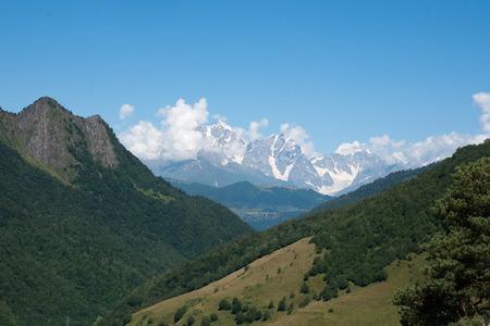 kavkaz: Georgia mountain and villages - tourist destination in summer