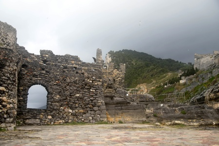 Castle and church historic ruins in Liguria