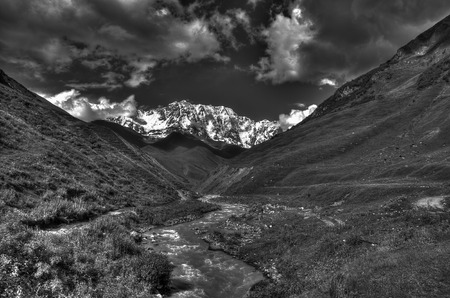 kavkaz: Adventure travel in Georgia mountain hiking vacation Stock Photo
