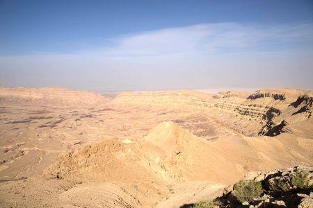 mideast: Hiking in stone desert mountain landscape of Israel