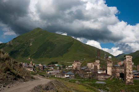 Ushguli high mountain village with towers - tourists destination