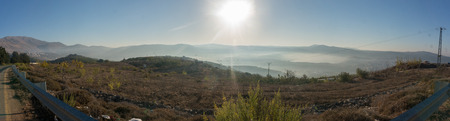 Hiking golan trail in Israeli north nature Stock Photo