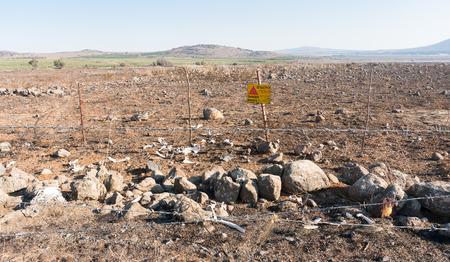Oorlog tegen beenderen en mijnen uit het Midden-Oosten op Golan Stockfoto