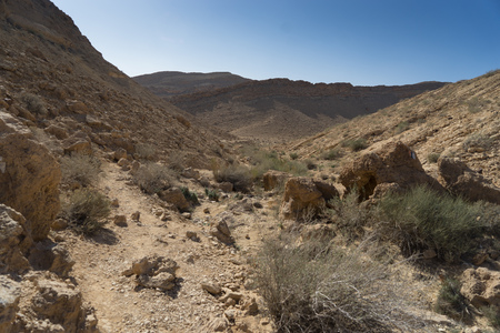 Hiking in desert for travel tourism and holiday trip