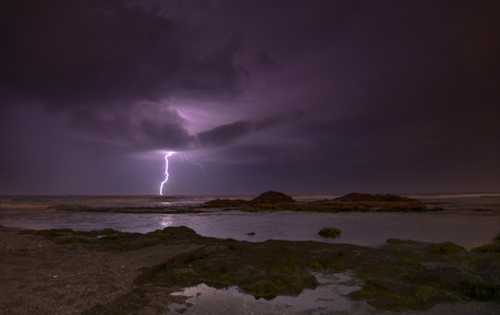 Lightning, heavy clouds and rain stormy weather Stockfoto