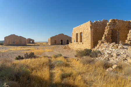 Vacation in Israel for ruins and history in national park of desert Imagens