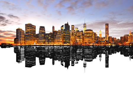 Reflection of New York skyline.