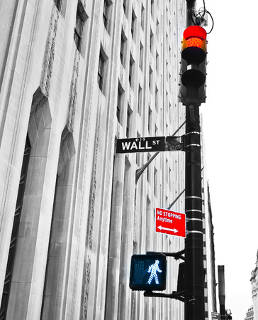 Wall Street road sign and traffic lights.