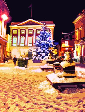 Illustration of street at Christmas.