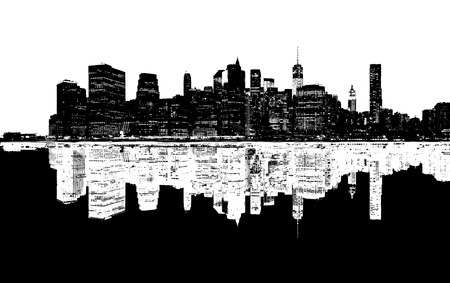 black and white: Silhouette of New York skyline. Stock Photo