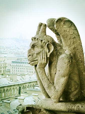 closeup view: Chimera on Notre Dame de Paris, France Stock Photo