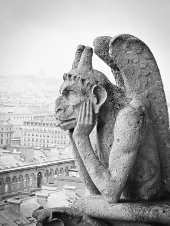 chimera: Chimera on Notre Dame de Paris, France Stock Photo