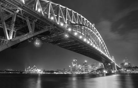 Sydney Skyline and Harbor Bridge at night