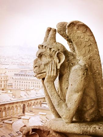 chimera: Chimera on Notre Dame de Paris France Stock Photo