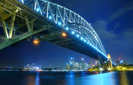 sydney australia: Sydney Skyline and Harbor Bridge at night