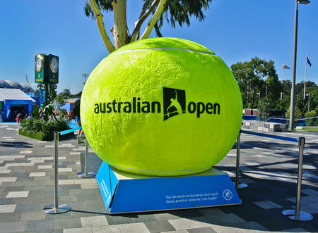 MELBOURNE, AUSTRALIA - JANUARY 21: A huge tennis ball decorated at Melbourne Park during day 3 of the Australian Open on January 21, 2015 in Melbourne, Australia. Sajtókép