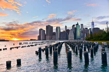 View of Manhattan skyline at sunset. Stock Photo