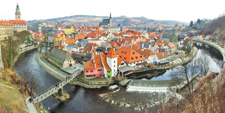 Panorama of Cesky Krumlov, Czech Republic 免版税图像
