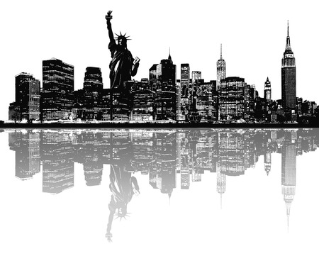 financial district: Silhouette of New York skyline. Stock Photo