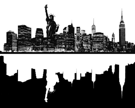world trade center: Silhouette of New York skyline. Stock Photo