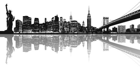 new york city panorama: Silhouette of New York skyline. Stock Photo