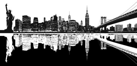 downtown district: Silhouette of New York skyline. Stock Photo