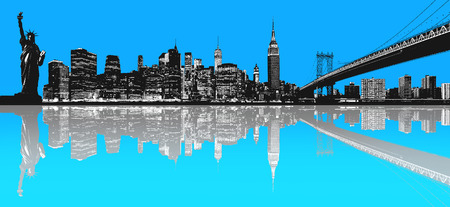 manhattan bridge: Silhouette of New York skyline. Stock Photo
