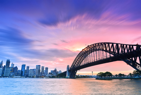 Sydney Harbour Panorama viewed from Kirribilli in North Sydney at dusk