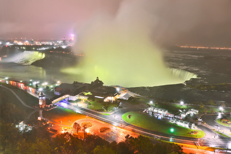 niagara falls city: View of Niagara Falls at night