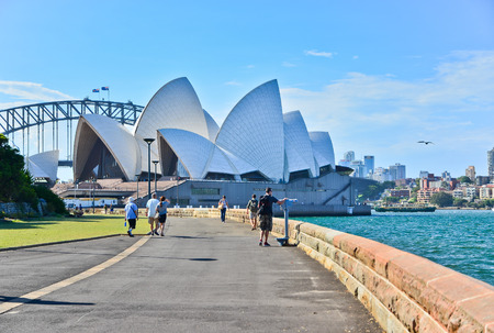 sydney: Sydney Opera House and Harbor Bridge in a sunny day
