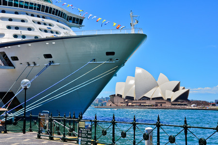 opera house: Sydney Opera House and a cruise ship in Sydney Harbour