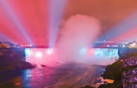 the edge of horseshoe falls: View of Niagara Falls at night