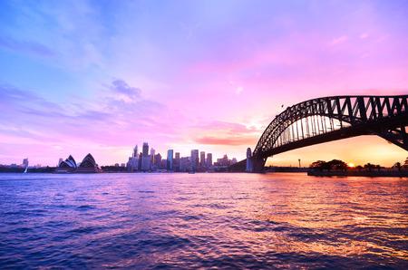 View of Sydney Harbor at twilight Stockfoto