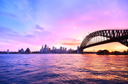 panorama: View of Sydney Harbor at twilight Stock Photo