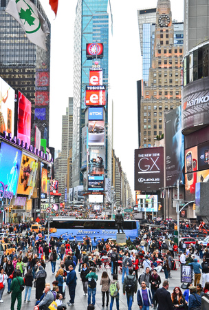 visitors: Times Square with lots of visitors in New York City