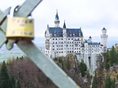 neuschwanstein: Neuschwanstein Castle and love lock on a bridge in Germany.
