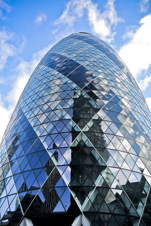 View of modern 30 St Mary Axe in London Editorial
