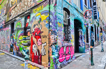 View of colorful graffiti artwork at Hosier Lane in Melbourne 免版税图像 - 46585448
