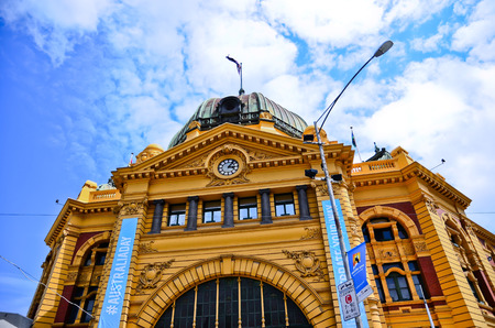 flinders: View of iconic Flinders Street Station in a sunny day in Melbourne