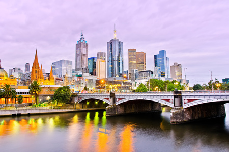 aus: View of Melbourne skyline at dusk Stock Photo