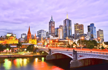 View of Melbourne skyline at dusk 報道画像