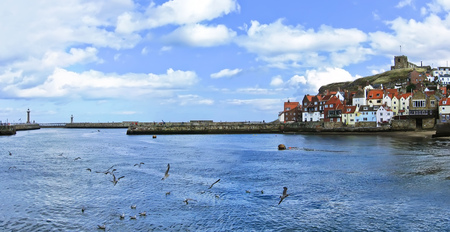 north yorkshire: View of Whitby harbour in Whitby, North Yorkshire, England