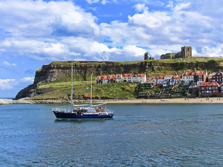 whitby: View of Whitby harbour in Whitby, North Yorkshire, England