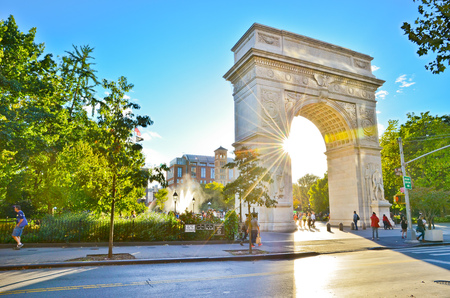 sunny sky: View of Washington Square Park in New York City