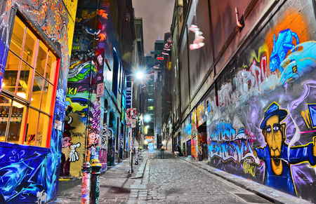 paint wall: Night view of colorful graffiti artwork at Hosier Lane in Melbourne