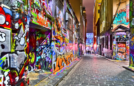 lanes: Night view of colorful graffiti artwork at Hosier Lane in Melbourne