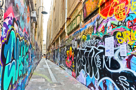 View of colorful graffiti artwork at Union Lane in Melbourne Editorial