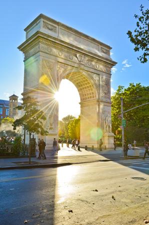뉴욕시에서 워싱턴 광장 공원의 전망 스톡 콘텐츠